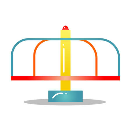 Kids merry-go-round for playground vector illustration isolated on white background