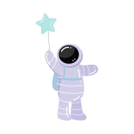Astronaut standing and holding baloon in star shape vector illustration Illustration