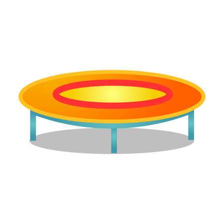 Circle jumping trampoline vector illustration isolated on white background