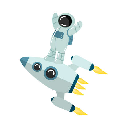 Astronaut standing on rocket with hands up vector illustration Illustration