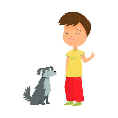 Smiling boy training his grey small dog vector illustration 일러스트