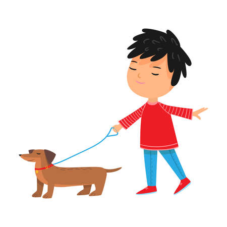 Boy walking his brown dachshund dog with lish vector illustration
