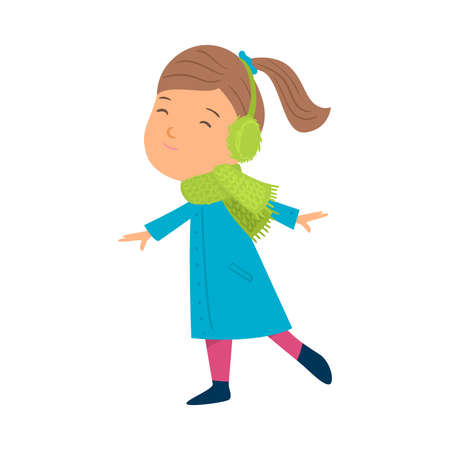 Girl wearing green scarf and headphones vector illustration