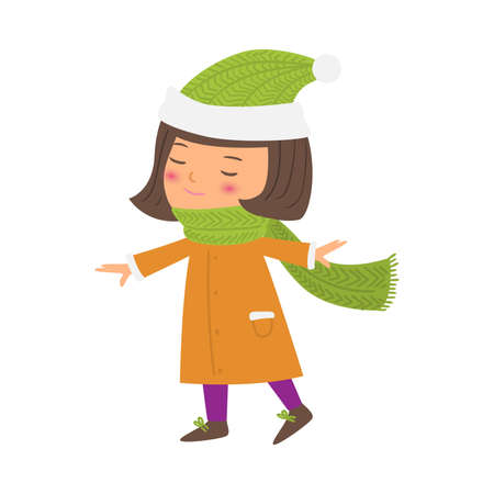 Little girl wearing green scarf and hat vector illustration