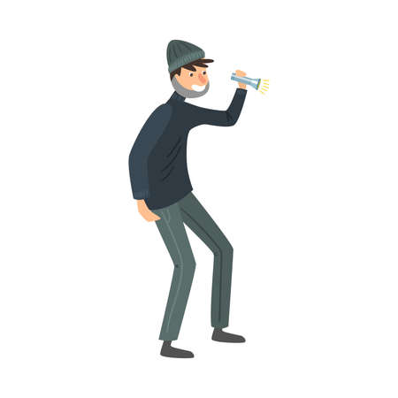 Thief in black clothes standing with the flashlight in hand. Vector illustration in flat cartoon style.