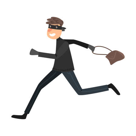 Running thief in a black mask with the stolen handbag. Vector illustration in flat cartoon style.