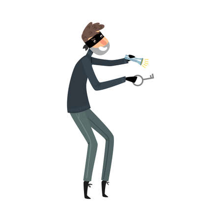 Thief in black clothes standing with the flashlight and master key in hands. Vector illustration in flat cartoon style.