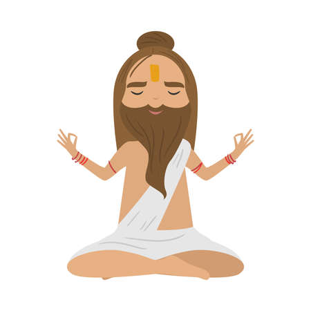 Meditating old yogi man with brown hair and beard sitting in a lotus position. Vector illustration in flat cartoon style.