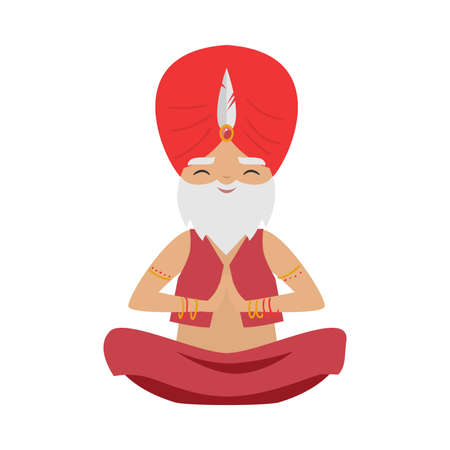 Meditating old yogi man with a feather on a red turban sitting in a lotus position. Vector illustration in flat cartoon style.