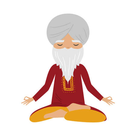 Meditating old yogi man with a white turban and red clothes sitting in a lotus position. Vector illustration in flat cartoon style.