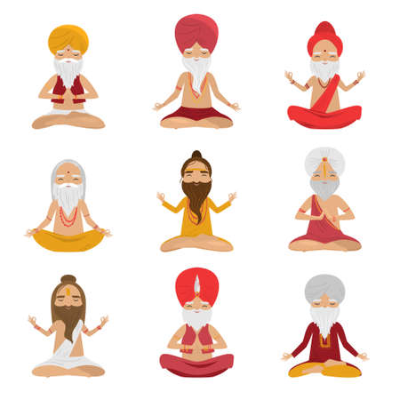 Set of meditating yogi men characters in the lotus position. Vector illustration in flat cartoon style.