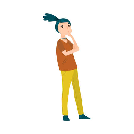 Beautiful blue-haired girl in yellow pants thinking of something or making a decision. Vector illustration in flat cartoon style.