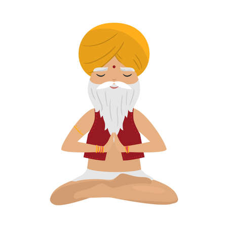 Meditating old yogi man with yellow turban sitting in a lotus position. Vector illustration in flat cartoon style.