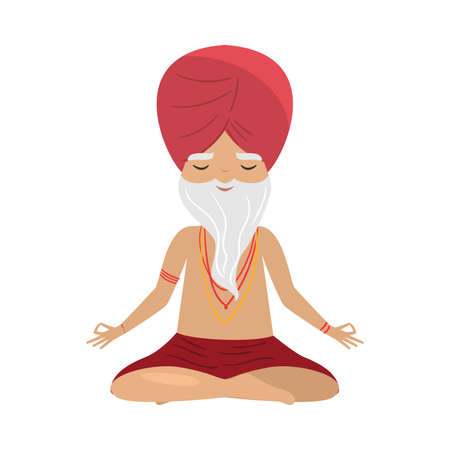 Meditating old yogi man with red turban sitting in a lotus position. Vector illustration in flat cartoon style. Illustration
