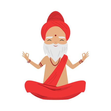 Meditating old yogi man with bindi on the forehead sitting in a lotus position. Vector illustration in flat cartoon style. Illustration