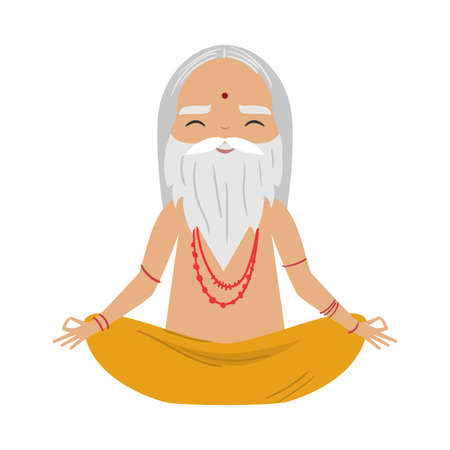 Meditating old yogi man with grey hair and beard sitting in a lotus position. Vector illustration in flat cartoon style. Illustration