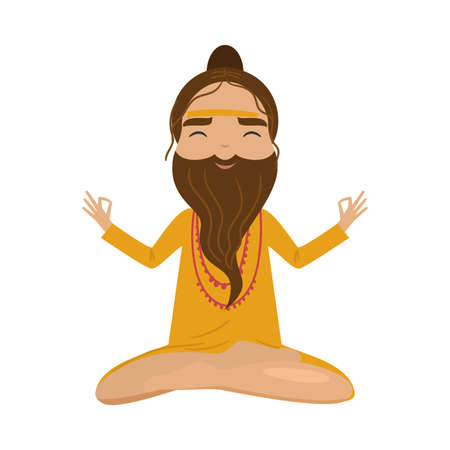 Meditating old yogi man in yellow clothes sitting in a lotus position. Vector illustration in flat cartoon style. Illustration