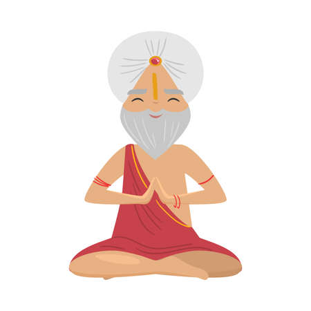 Meditating old yogi man with white turban sitting in a lotus position. Vector illustration in flat cartoon style.