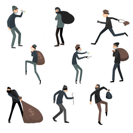 Set of thieves in masks and black suits in different action situations. Vector illustration in flat cartoon style. Vecteurs