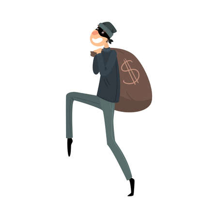 Sneaking thief in mask and black suit with a bag of money. Vector illustration in flat cartoon style.