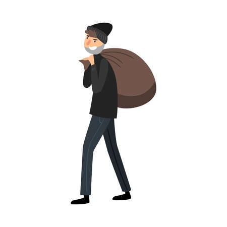 Thief in black clothes with a bag of loot. Vector illustration in flat cartoon style. Çizim