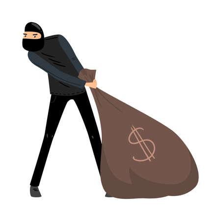 Thief in black mask pulls a bag of money. Vector illustration in flat cartoon style.