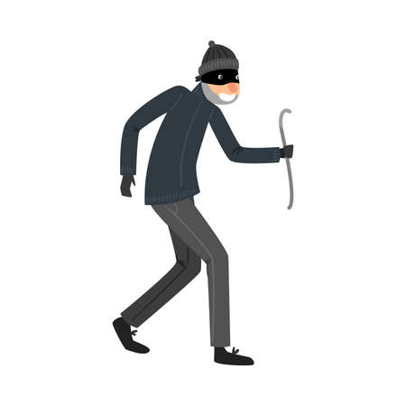 Sneaking thief in black clothes standing with the crowbar in hand. Vector illustration in flat cartoon style.