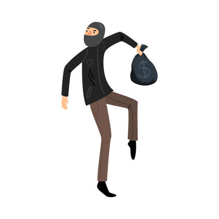 Sneaking thief in black mask with a bag of money. Vector illustration in flat cartoon style.