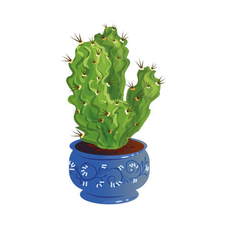 Decorative green cactus with thorns in a blue pot. Vector illustration in flat cartoon style.