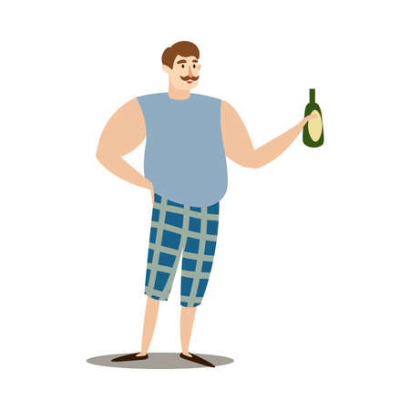 Hand drawn young man in shorts holding bottle of wine for barbecue in hand over white background vector illustration. Healthy grilled food and lifestyle concept Ilustrace