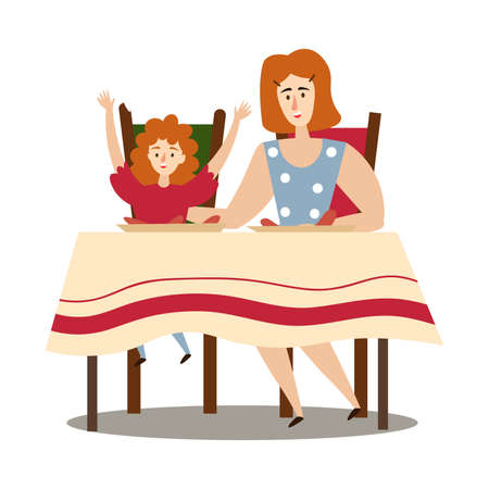 Hand drawn mother and daughter sitting at table and eating freshly made barbeque over white background vector illustration. Healthy grilled food and lifestyle concept