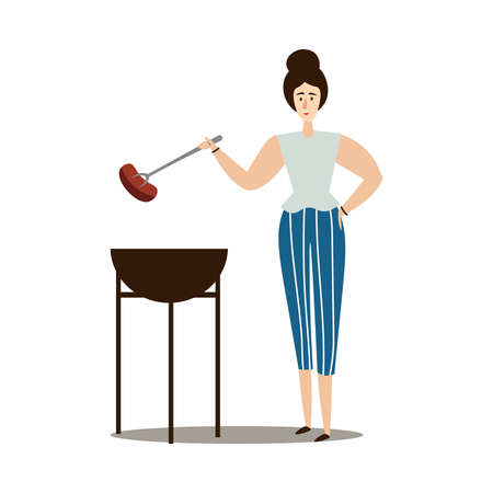 Hand drawn young woman grilling sausage on fire with stick over white background vector illustration. Healthy grilled food and lifestyle concept Illustration