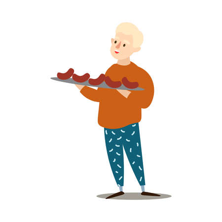 Hand drawn boy in sweater holding big plate with grilled sausages barbecue in hands over white background vector illustration. Healthy grilled food and lifestyle concept