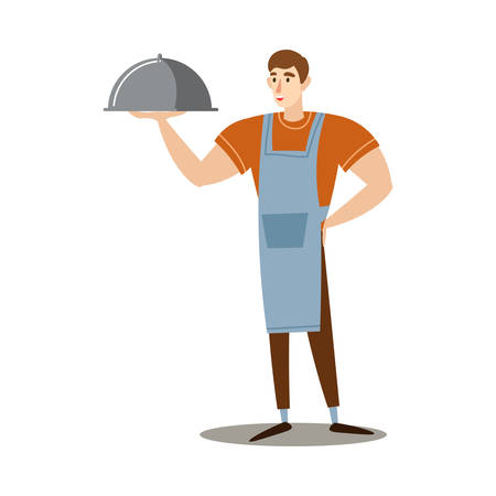 Hand drawn young man in apron holding dish with cooked barbecue inside over white background vector illustration. Healthy grilled food and lifestyle concept