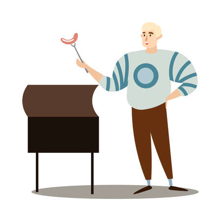 Hand drawn young blond man in sweater holding grilled sausage barbecue on stick over white background vector illustration. Healthy grilled food and lifestyle concept Ilustrace