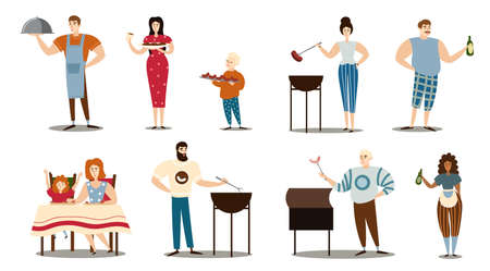 Set of people cooking and serving barbecue meat vector illustration
