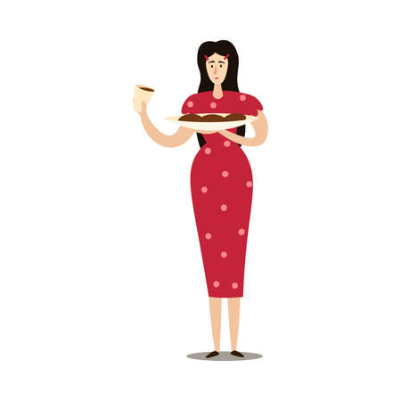 Woman holding plate with grilled sausages and wine vector illustration