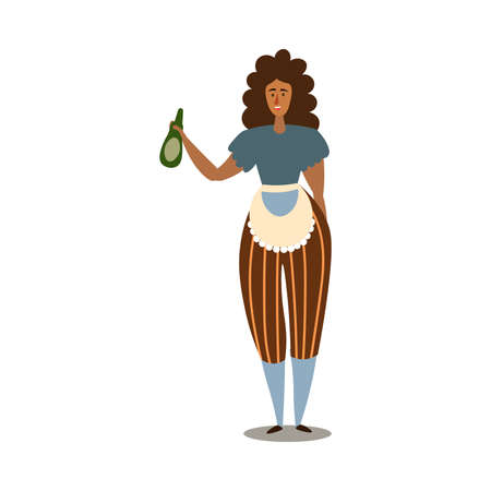 Young curly woman holding oil for making barbeque vector illustration Illustration