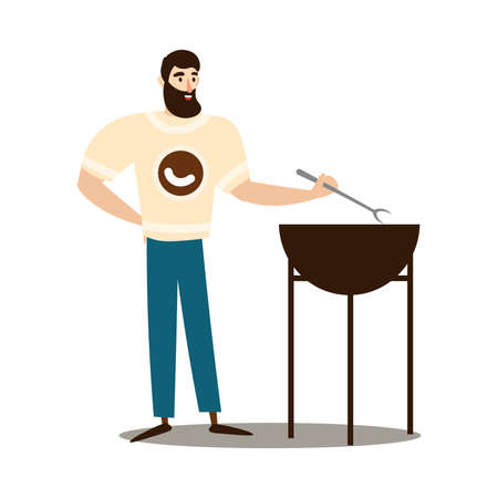 Man making barbecue on fire grill vector illustration