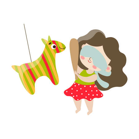 Cute happy brown-haired blindfolded girl aying in pinata with the stick. Isolated vector icon illustration on white background in cartoon style.