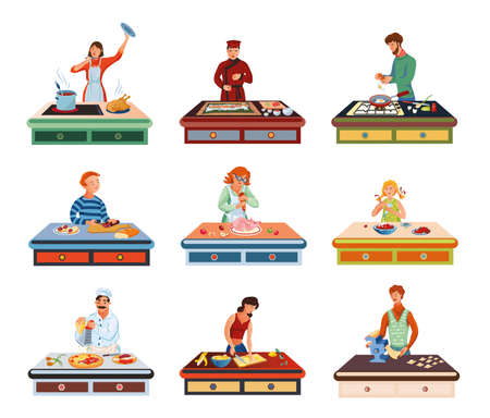 Collection set of different people cooking various food on the table. Cooking concept. Colorful vector flat isolated icons set on white background. Ilustracja