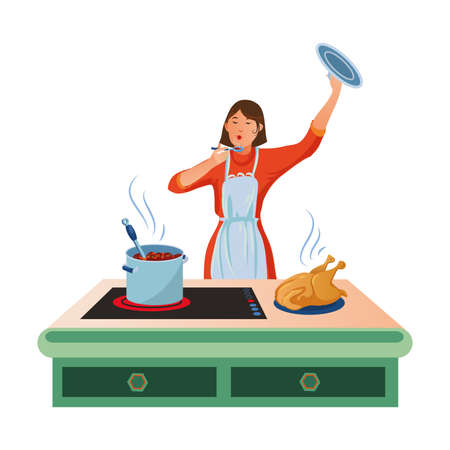Cute woman in an apron cooking on the kitchen table and tasting soup with a spoon in her hand. Fried chicken on the plate. Isolated vector illustration on white background in cartoon style. Ilustracja
