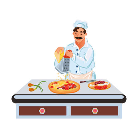 Professional chef in white uniform makes pizza on the table. Pizzeria kitchen concept. Isolated vector illustration on white background in cartoon style.