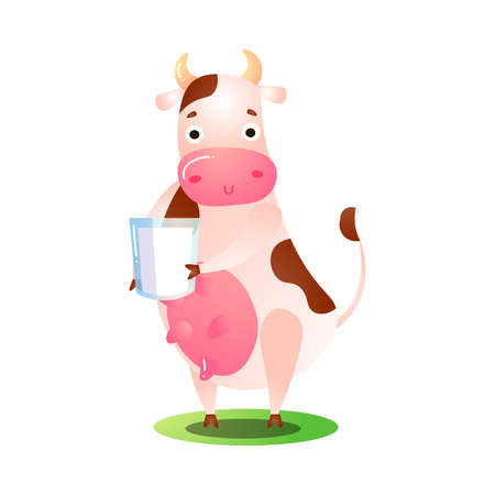 Hand drawn cartoon funny pink spotted cow animal standing on grass on hind legs with jar of milk in hands over white background vector illustration. Happy children books animal illustrations concept