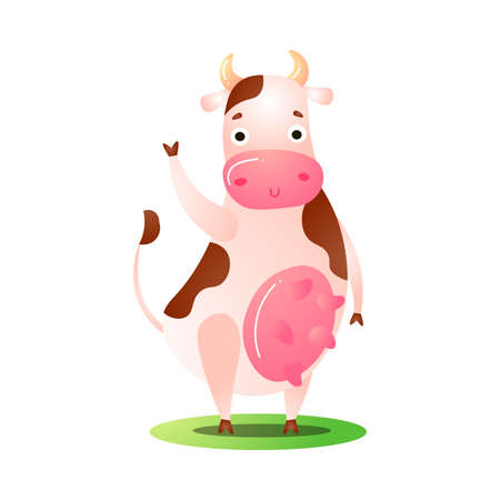 Hand drawn cartoon funny pink spotted cow animal standing on grass on hind legs with raised hand over white background vector illustration. Happy children books animal illustrations concept