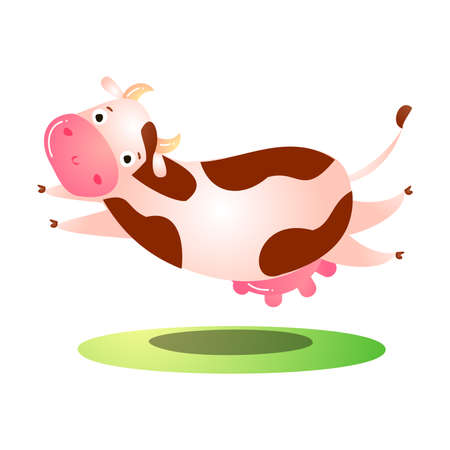 Hand drawn cartoon funny pink spotted cow animal running and jumping over grass over white background vector illustration. Happy children books animal illustrations concept