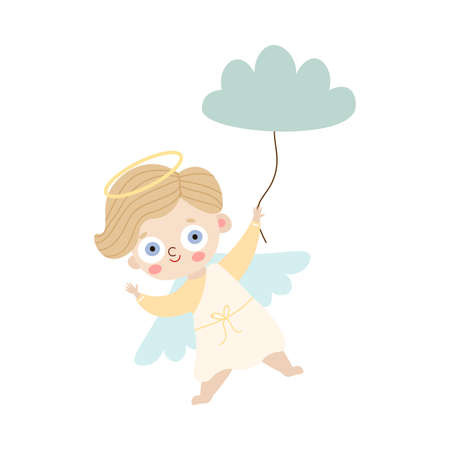 Hand drawn small blond kid angel with wings and halo standing and holding blue cloud like balloon over white background vector illustration. Happy children illustrations concept