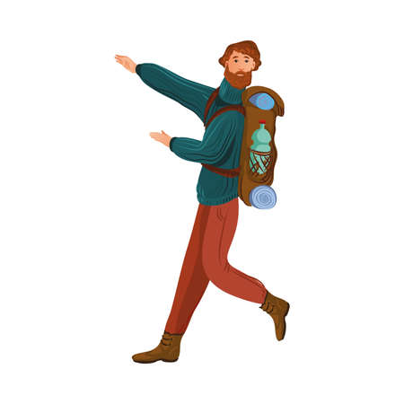 Bearded camper in the sweater with a backpack shows the way to go. Vector illustration in flat cartoon style.