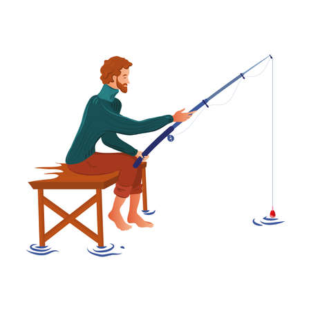 A bearded fisherman in the sweater sits fishing with a fishing rod. Vector illustration in flat cartoon style.