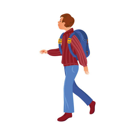 Brown-haired camper boy in the sweater with a backpack. Vector illustration in flat cartoon style. Ilustrace
